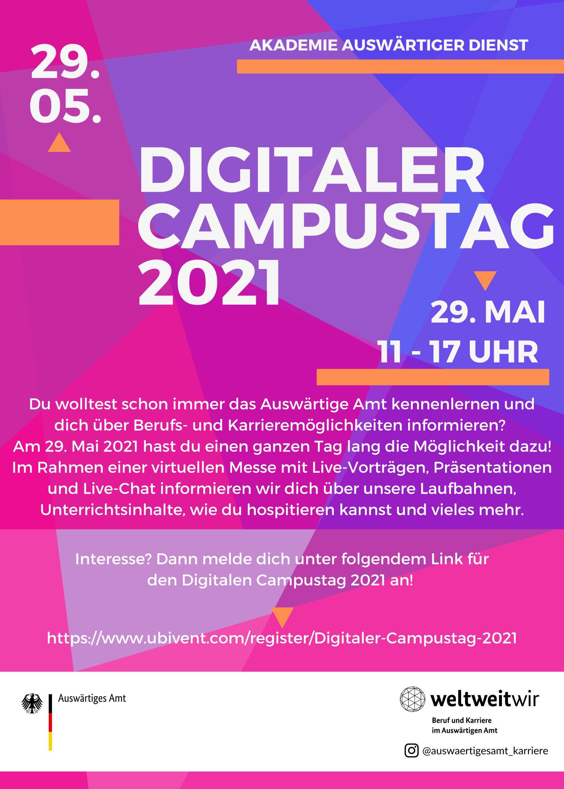 Einladung zum Digitalen Campustag der Akademie Auswärtiger Dienst am 29. Mai 2021